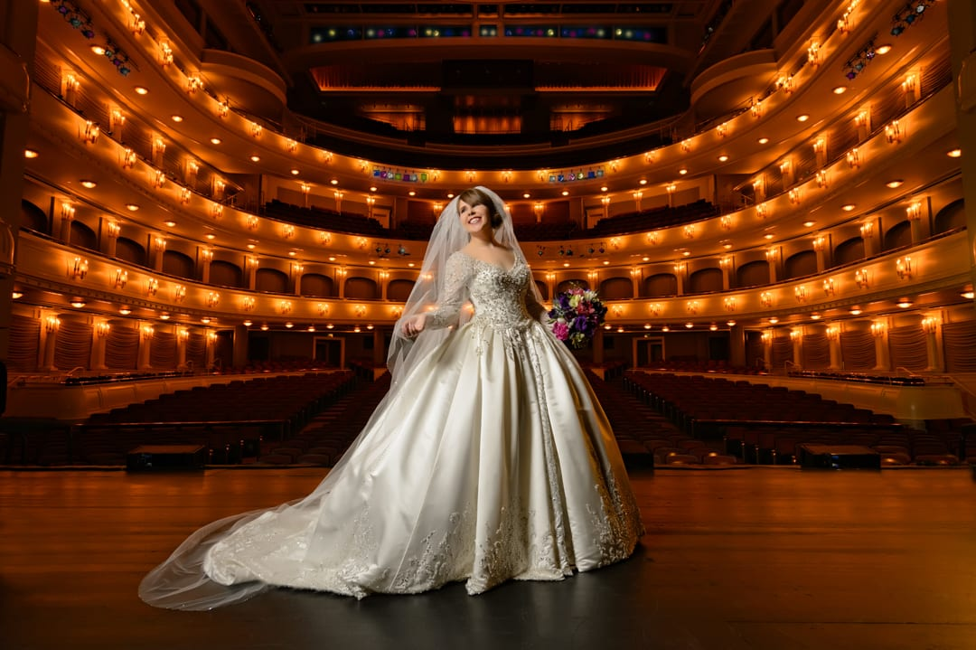 Emily's Bridal Portrait at Bass Hall in Fort Worth Texas on the Stage