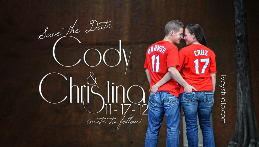 Fort Worth Water Gardens Save the Date Magnet Design Engagement Pictures
