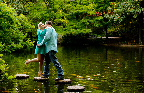 Fort Worth Botanical Japanese Garden Engagement Session Portraits