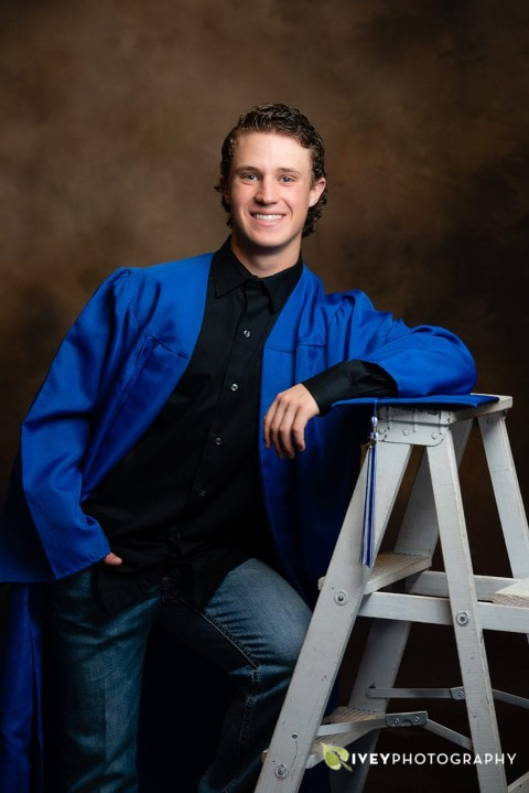 High School Senior Portraits in Studio Cap & Gown Midlothian TX by Ivey Photography